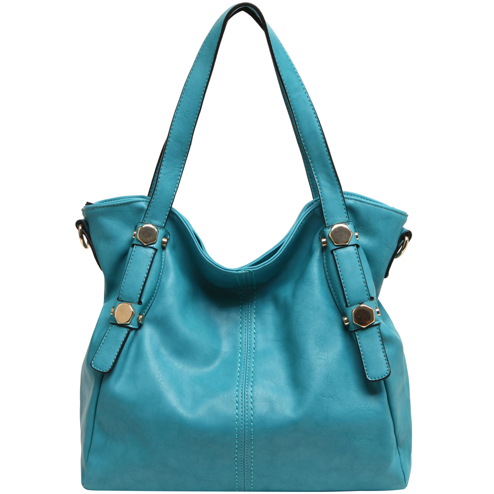 Casie Turquoise Slouchy Tote Handbag front image