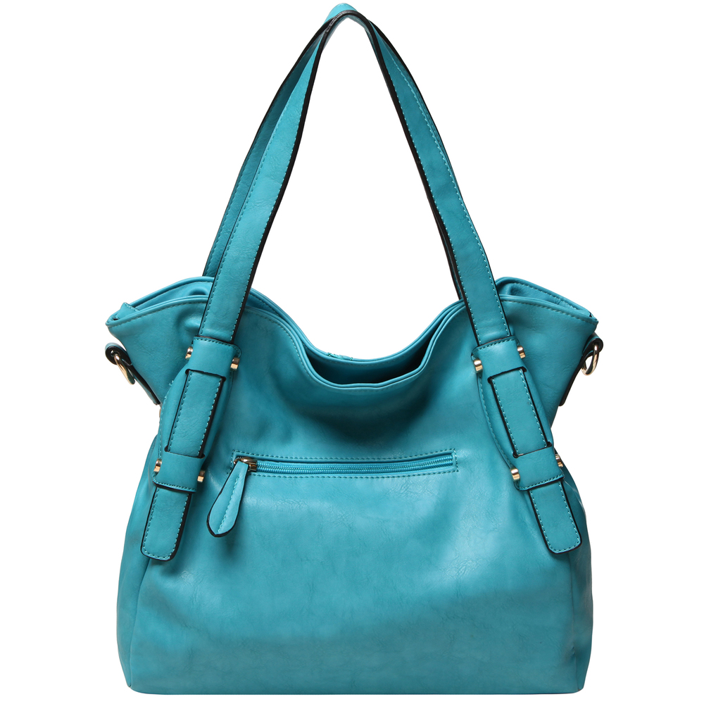 Casie Turquoise Slouchy Tote Handbag back image