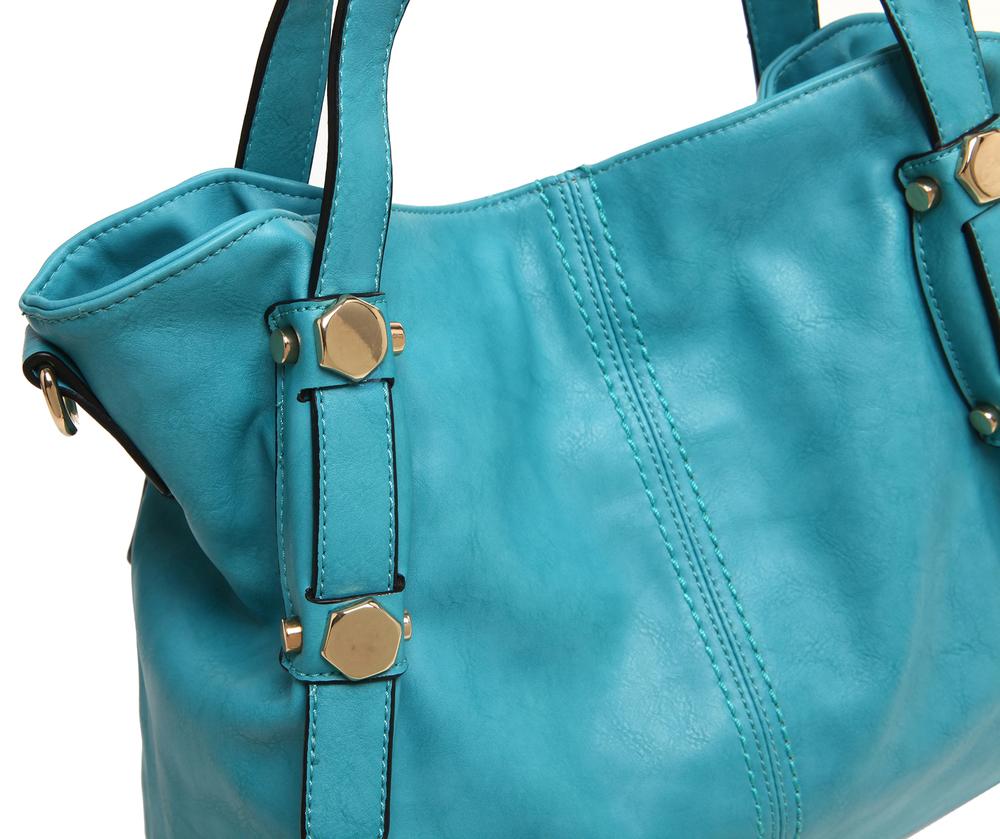 Casie Turquoise Slouchy Tote Handbag closeup image