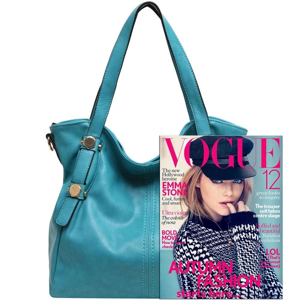Casie Turquoise Slouchy Tote Handbag size comparison image