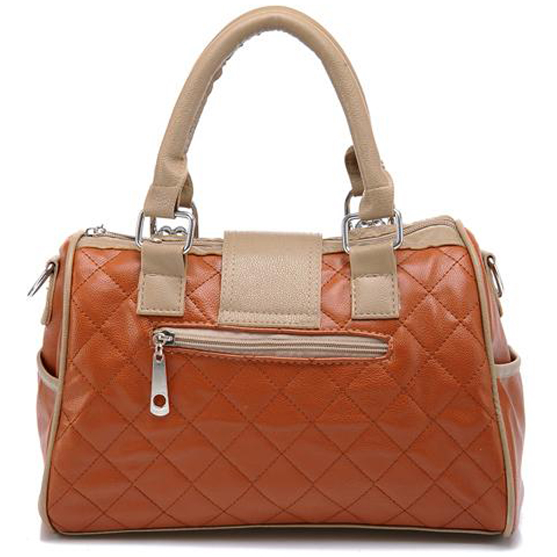 KARASI Brown Quilted Tote Handbag back image