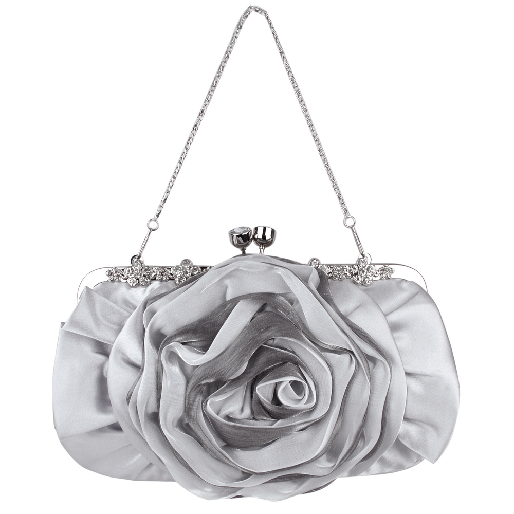 Rose blossom silver evening clutch purse front image