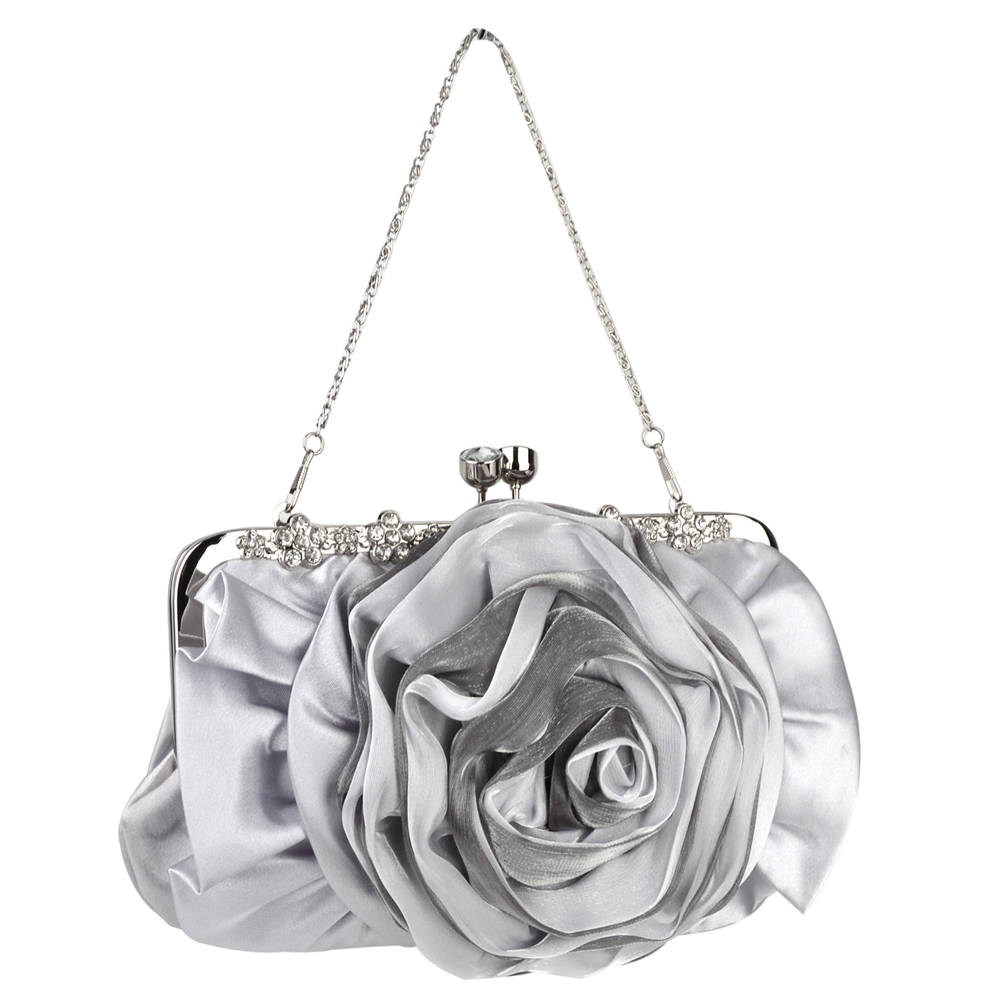 Rose blossom silver evening clutch purse main image