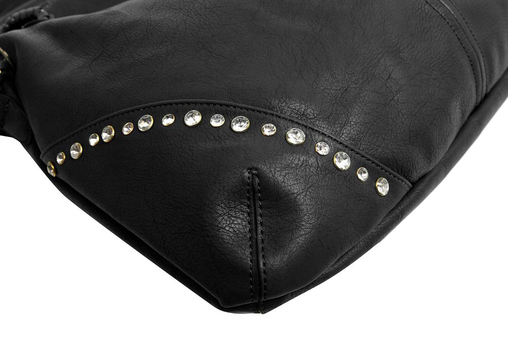 Regina Black Hobo Style Shopper Tote closeup image