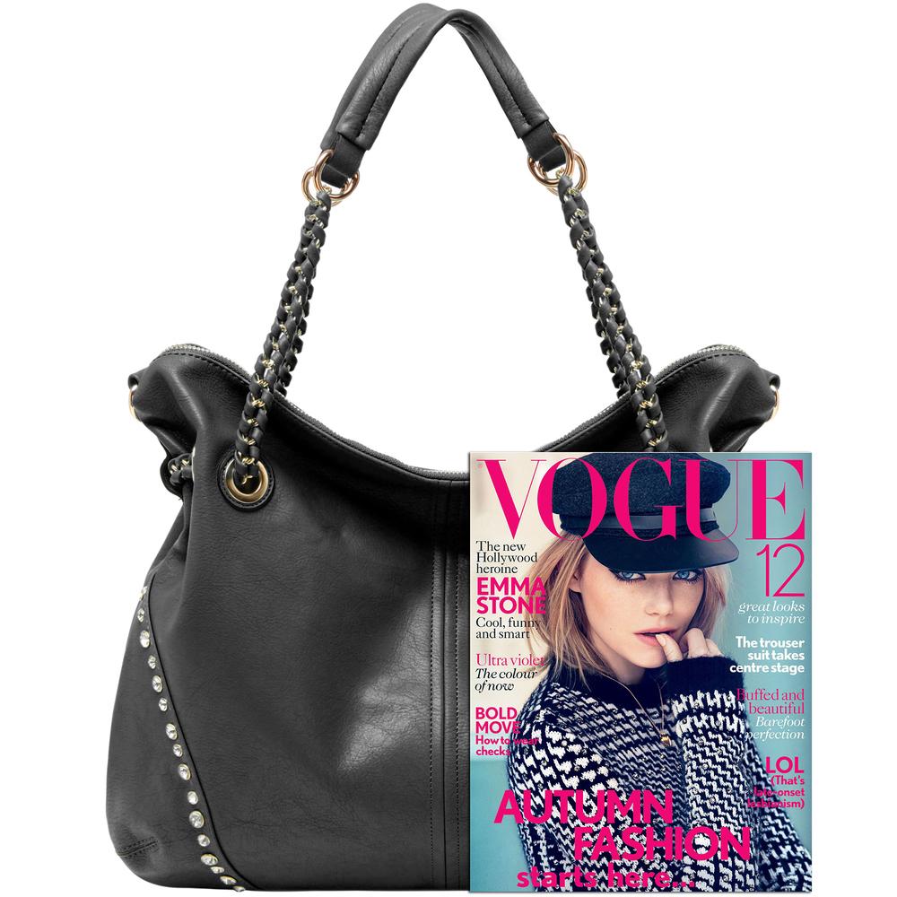 Regina Black Hobo Style Shopper Tote size comparison image