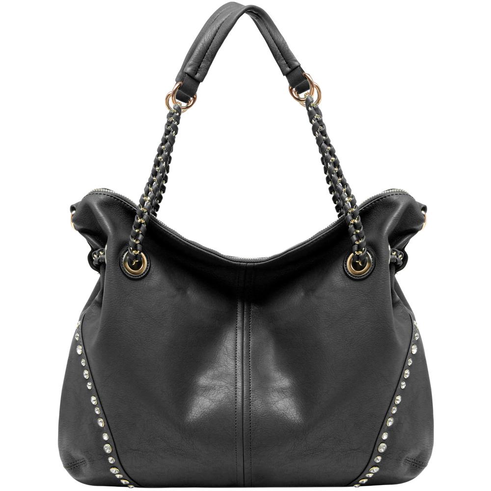 Regina Black Hobo Style Shopper Tote front image