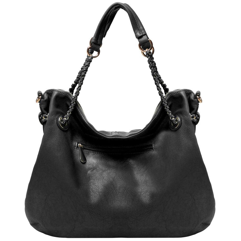Regina Black Hobo Style Shopper Tote back image
