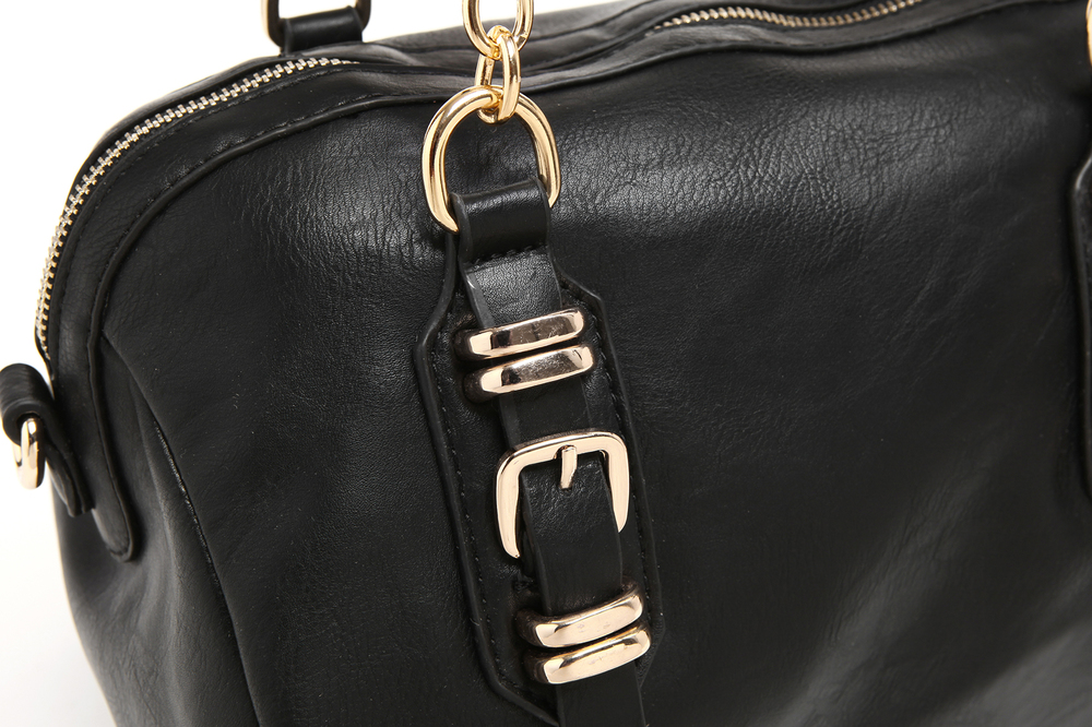 SONIA Black Barrel Top Handle Tote Handbag closeup of front