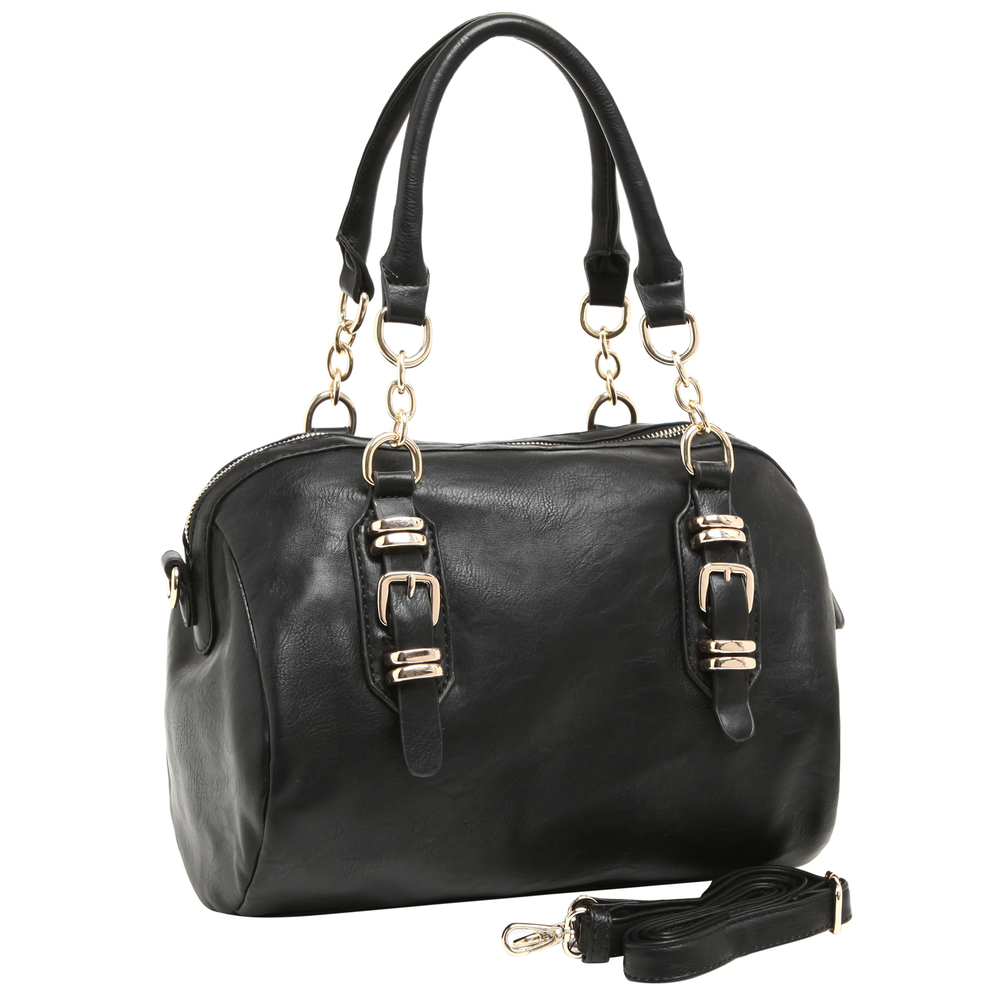 SONIA Black Barrel Top Handle Tote Handbag main image