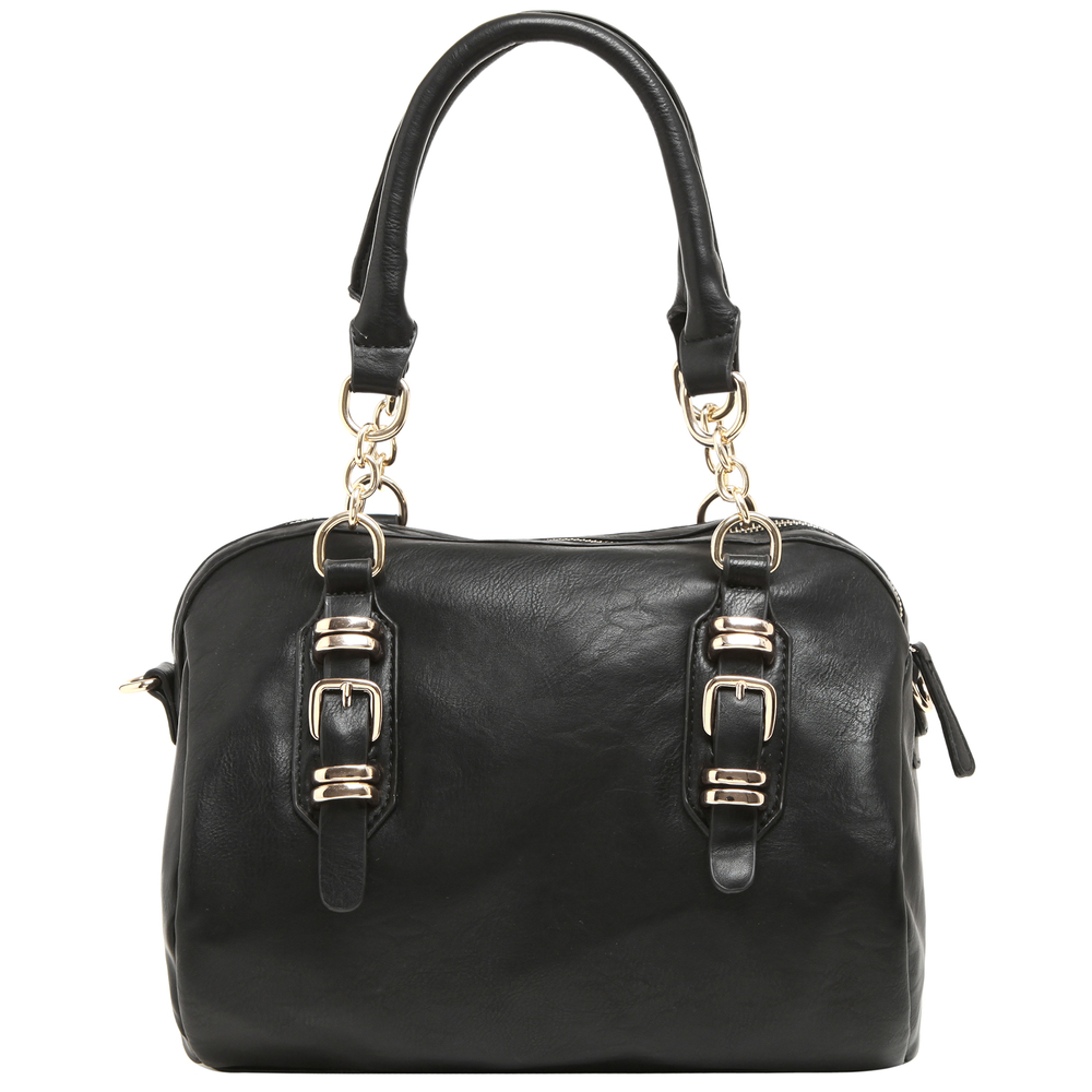 SONIA Black Barrel Top Handle Tote Handbag front image