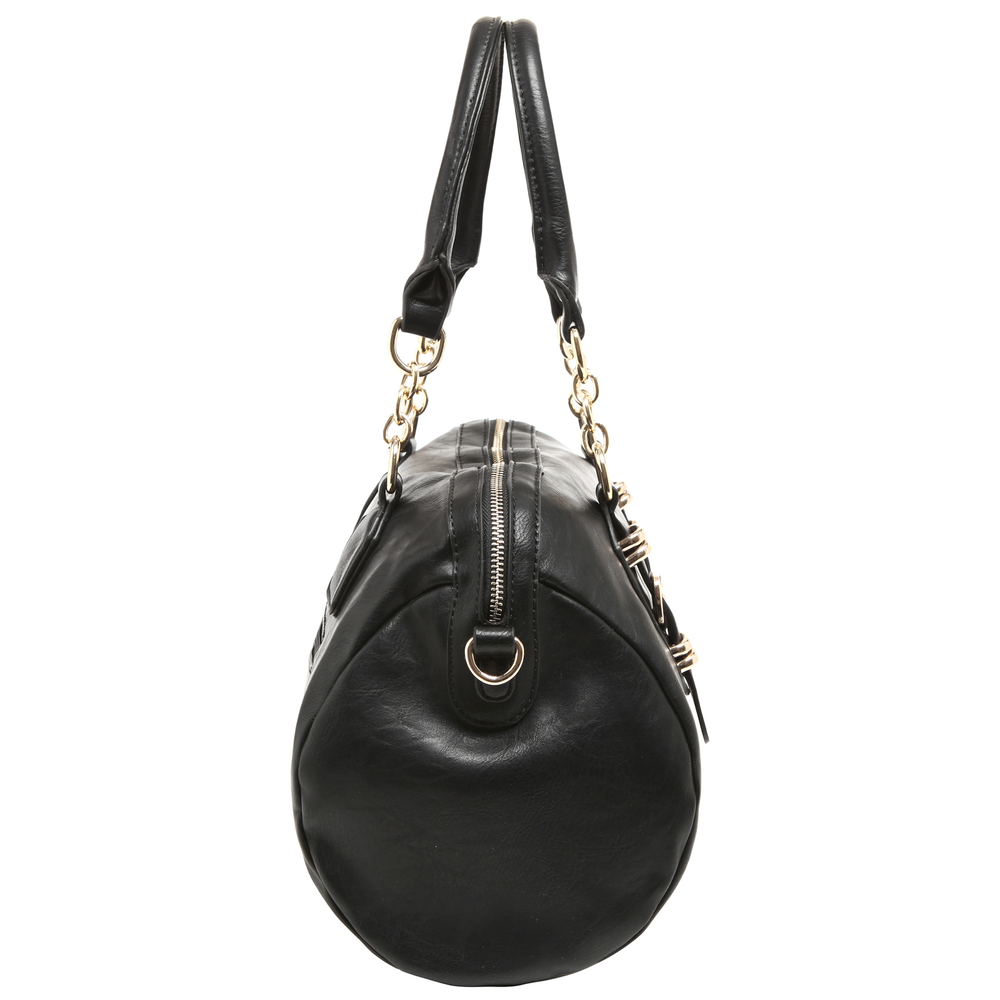 SONIA Black Barrel Top Handle Tote Handbag side image