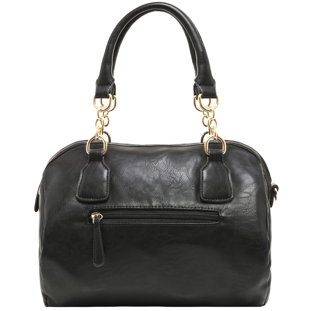 SONIA Black Barrel Top Handle Tote Handbag back image