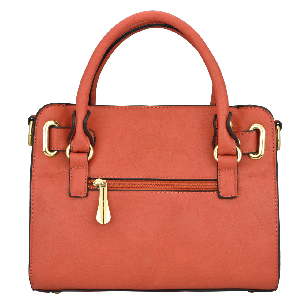 NERYS coral top handle tote purse back image