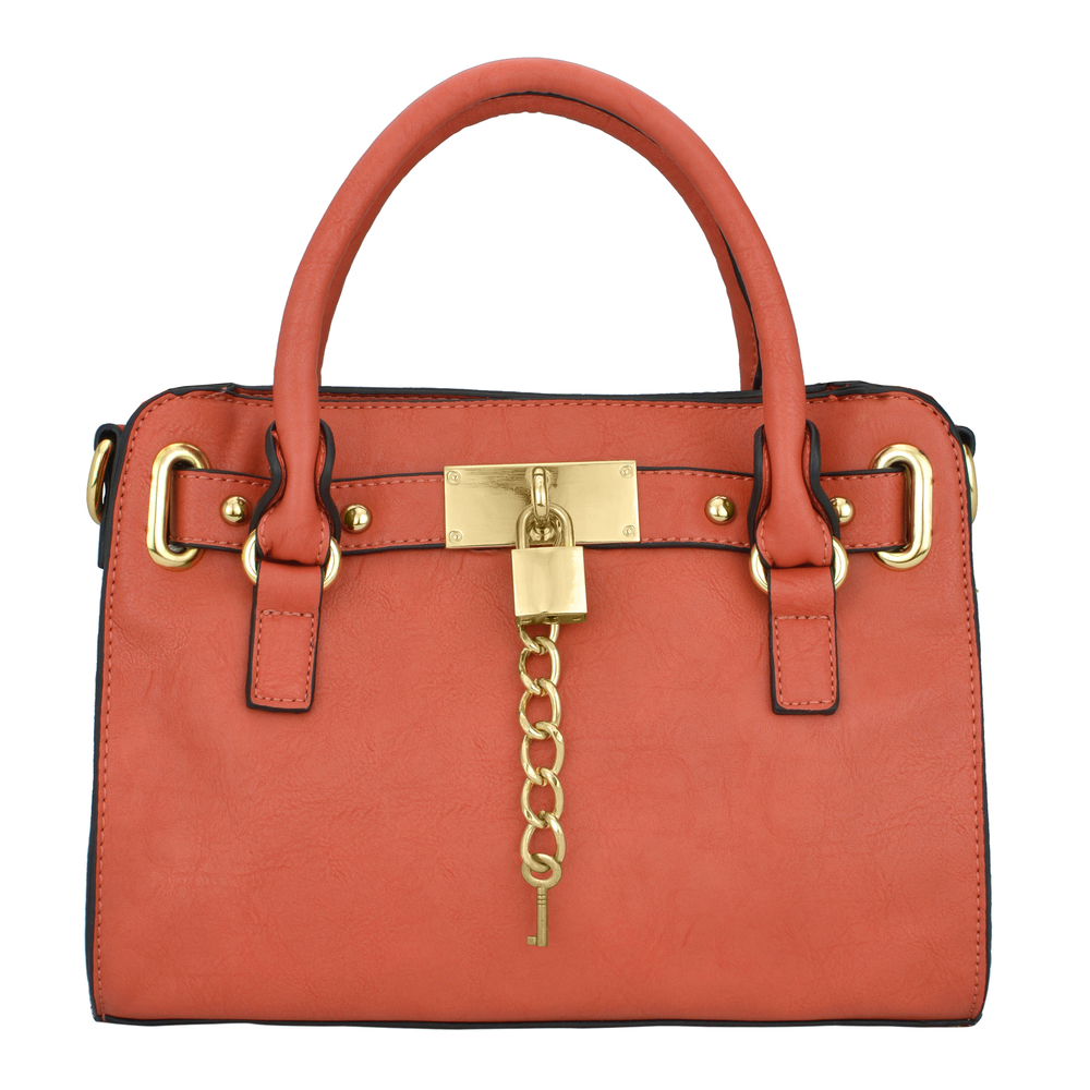 NERYS coral top handle tote purse front image