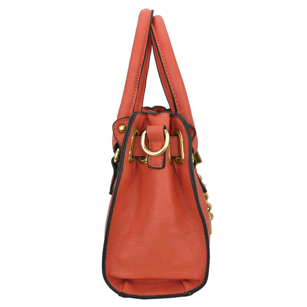 NERYS coral top handle tote purse side image