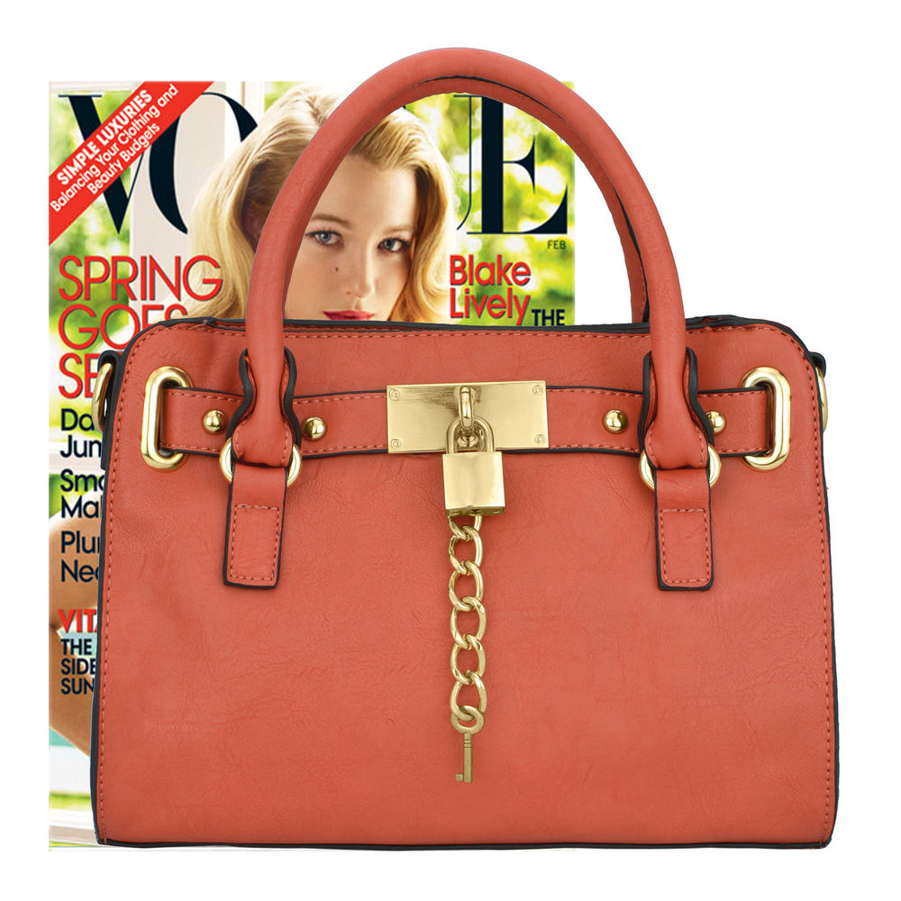 NERYS coral top handle tote purse size comparison image
