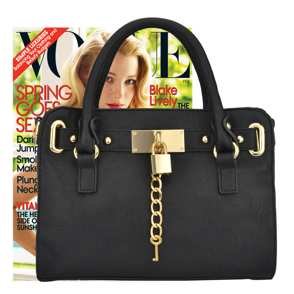 NERYS black top handle tote purse size comparison image
