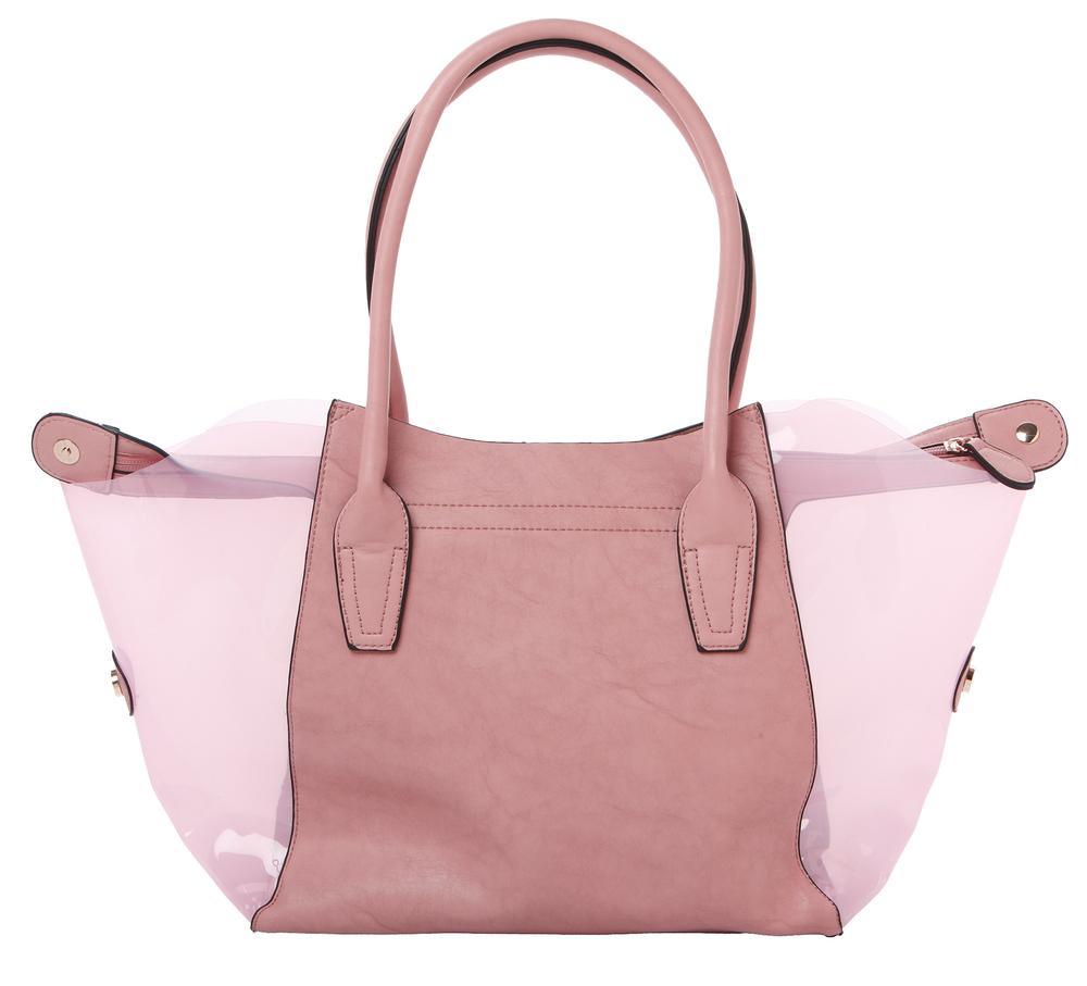 Lara pink 2 in 1 shopper tote back image