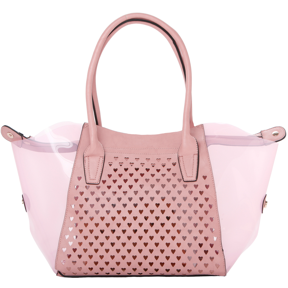 Lara pink 2 in 1 shopper tote front image showing heart shaped cut outs