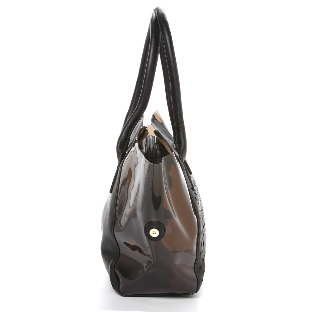 Lara black 2 in 1 shopper tote side image