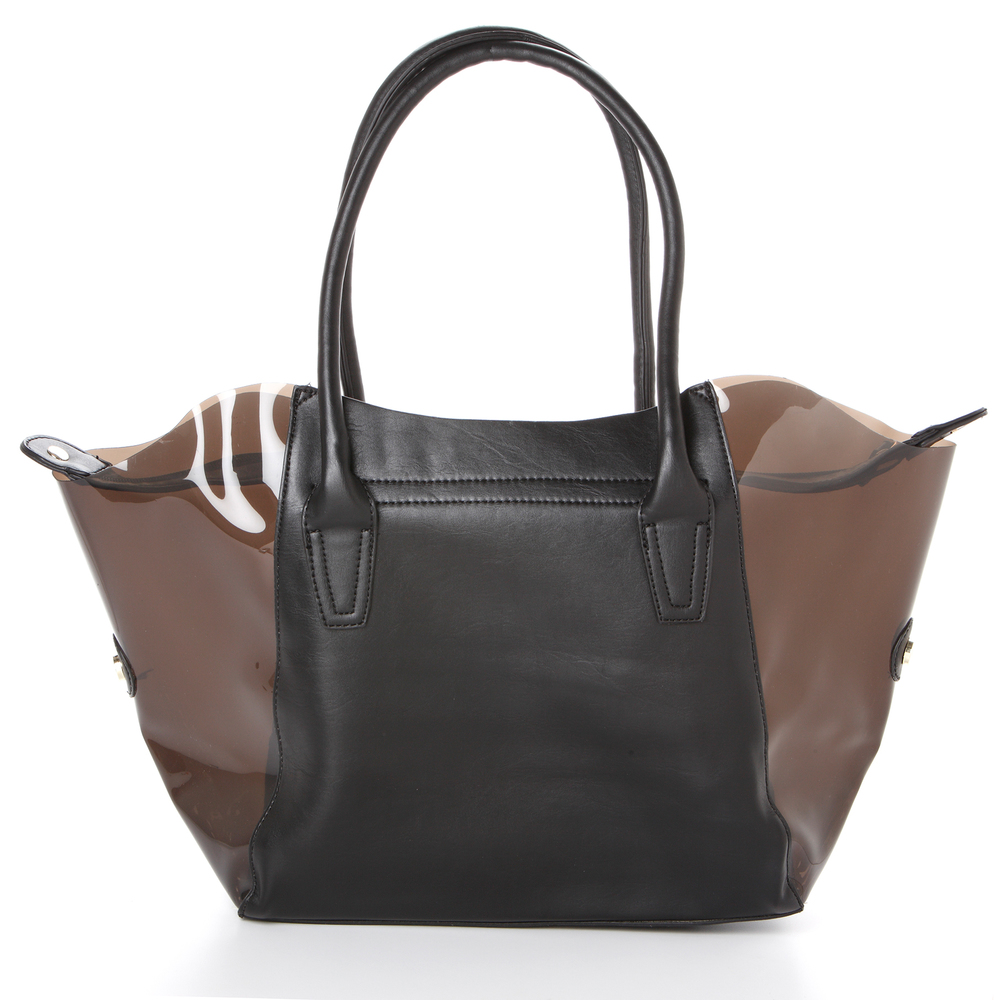 Lara black 2 in 1 shopper tote back image