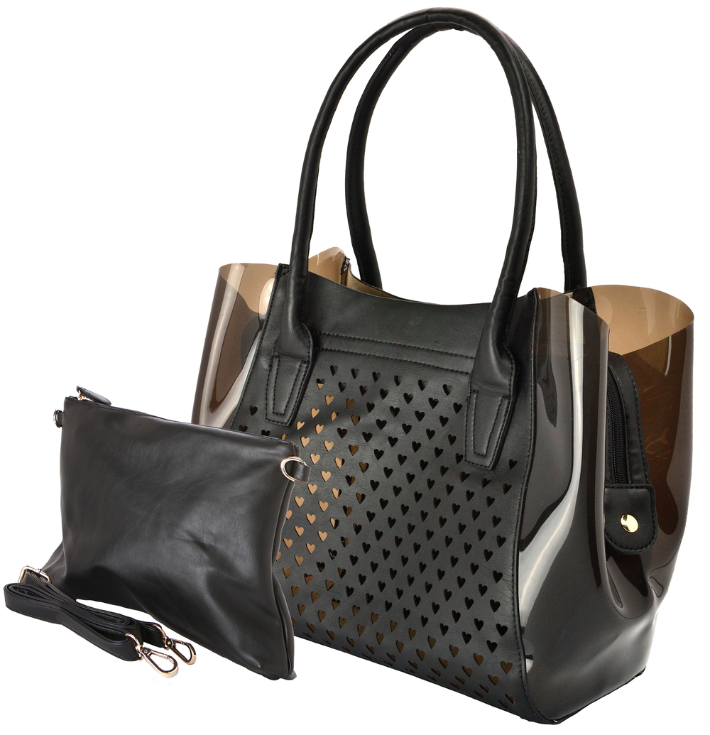 Lara black 2 in 1 shopper tote main image