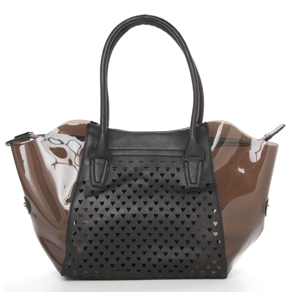 Lara black 2 in 1 shopper tote front image