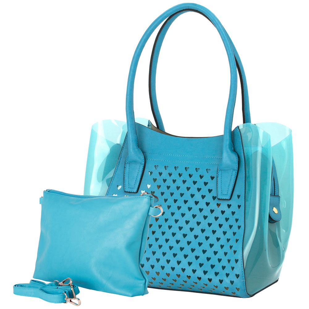 Lara blue 2 in 1 shopper tote main image