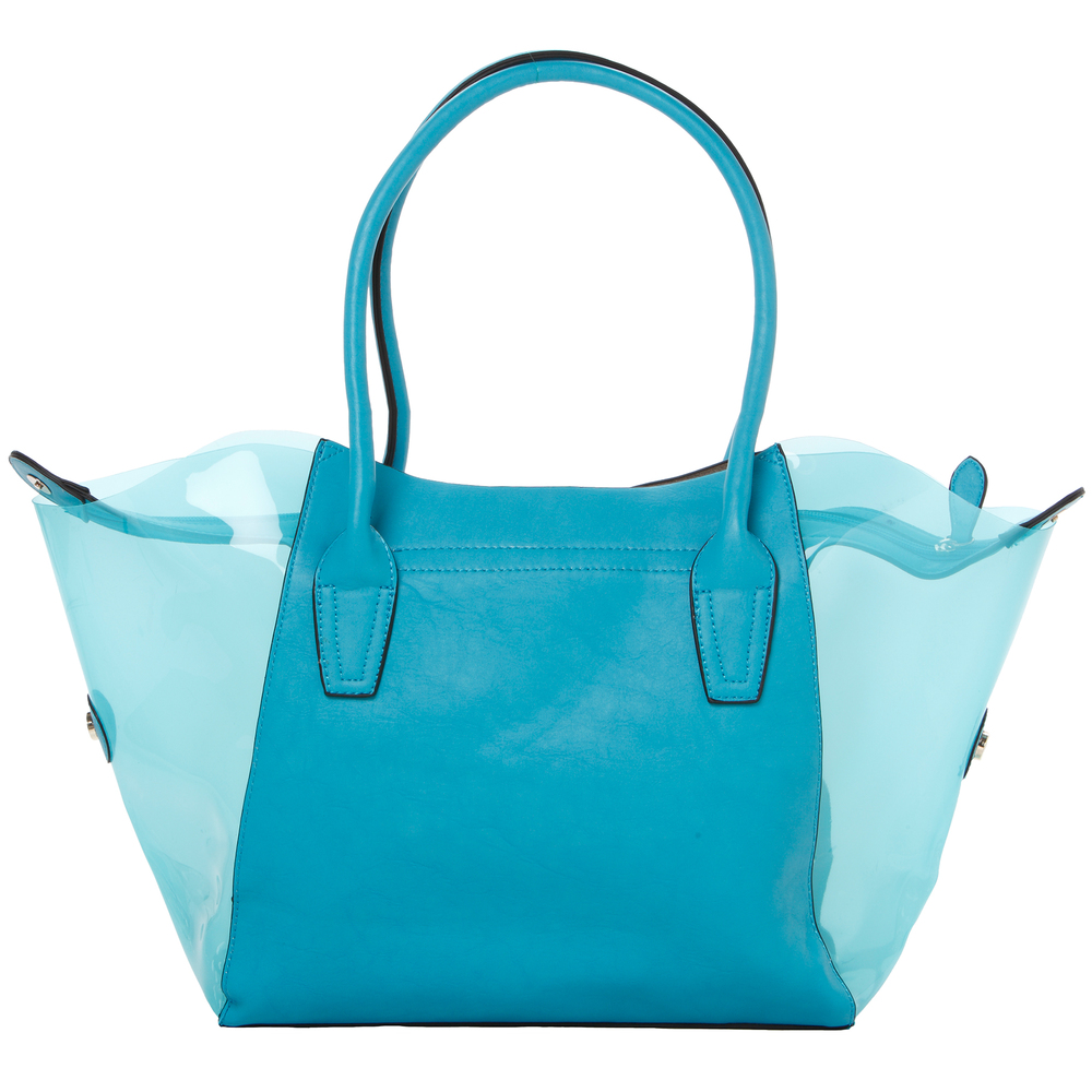 Lara blue 2 in 1 shopper tote back image