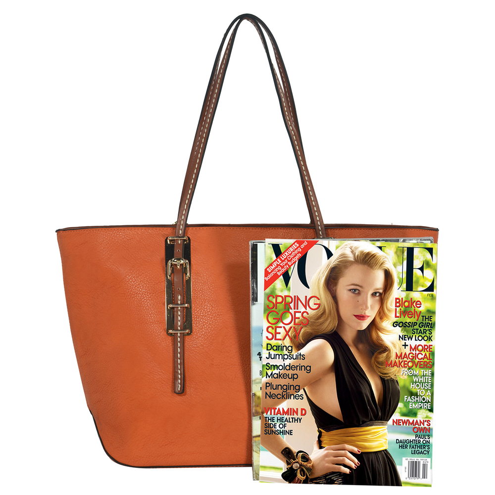 sabrina orange womens designer inspired shopper tote magazine image