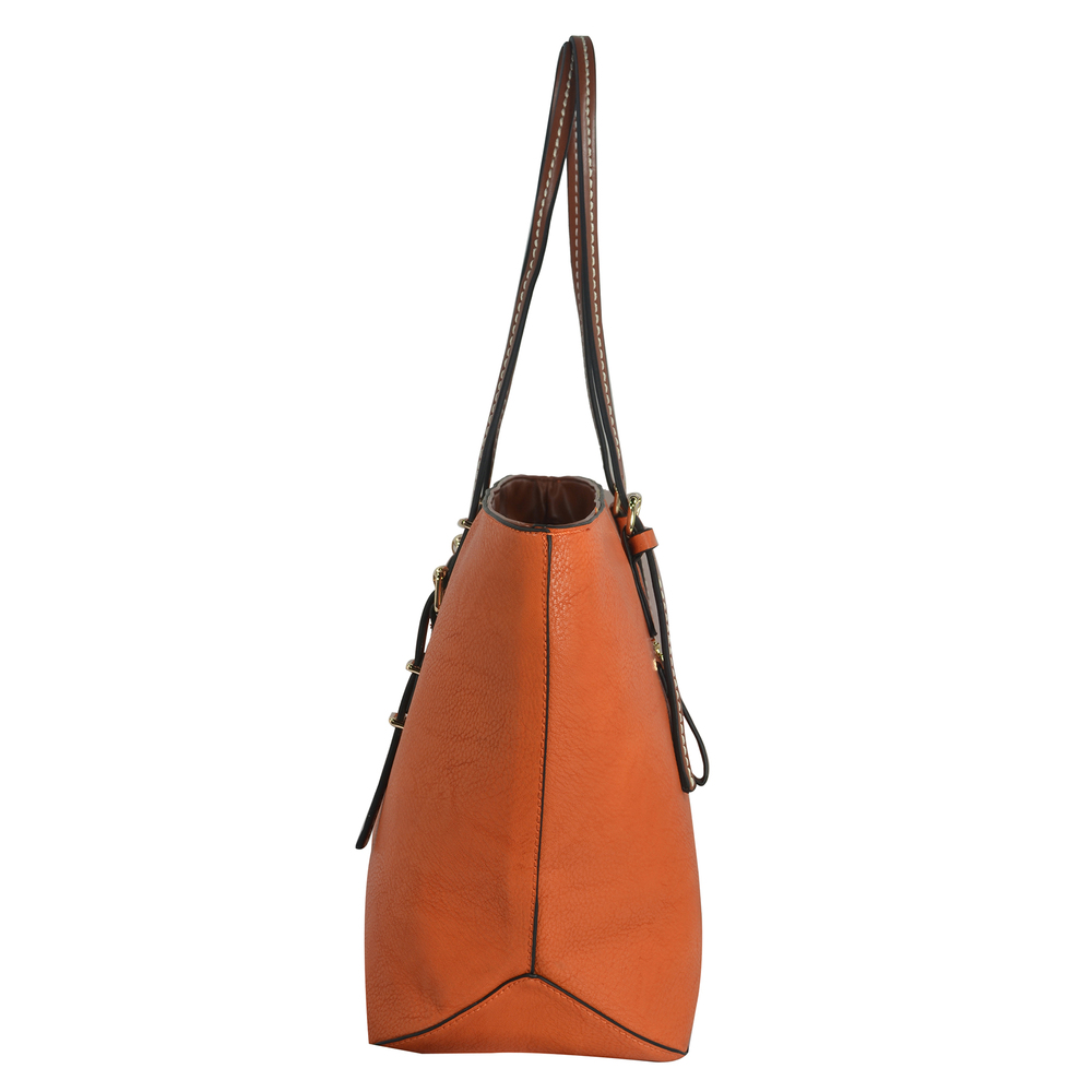 sabrina orange womens designer inspired shopper tote side image