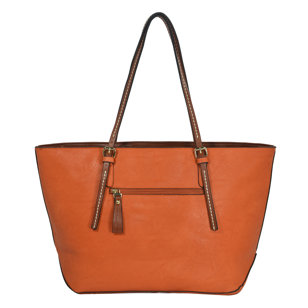 sabrina orange womens designer inspired shopper tote back image