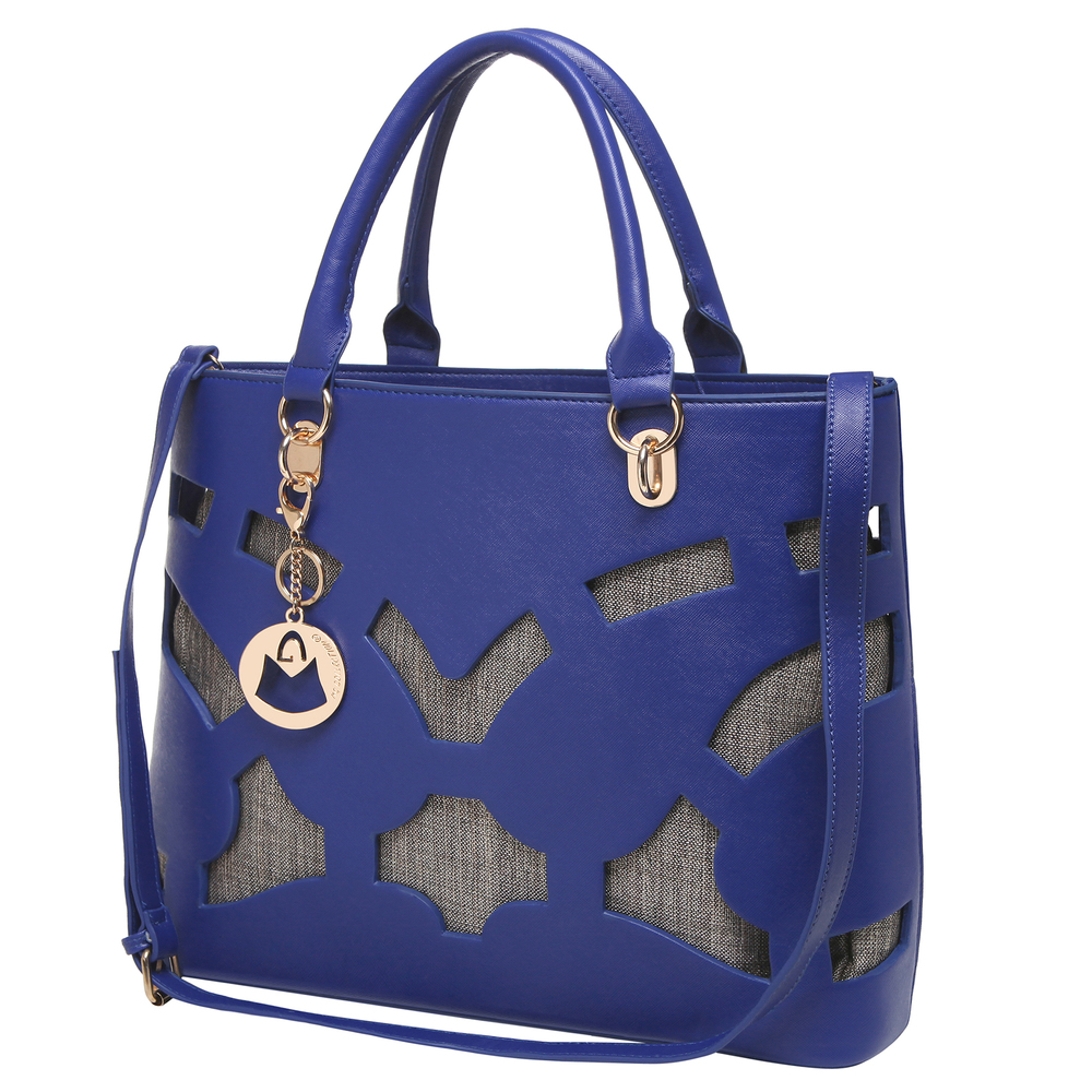 Tayla Blue 2 in 1 fashion cut out tote handbag with shoulder strap in front