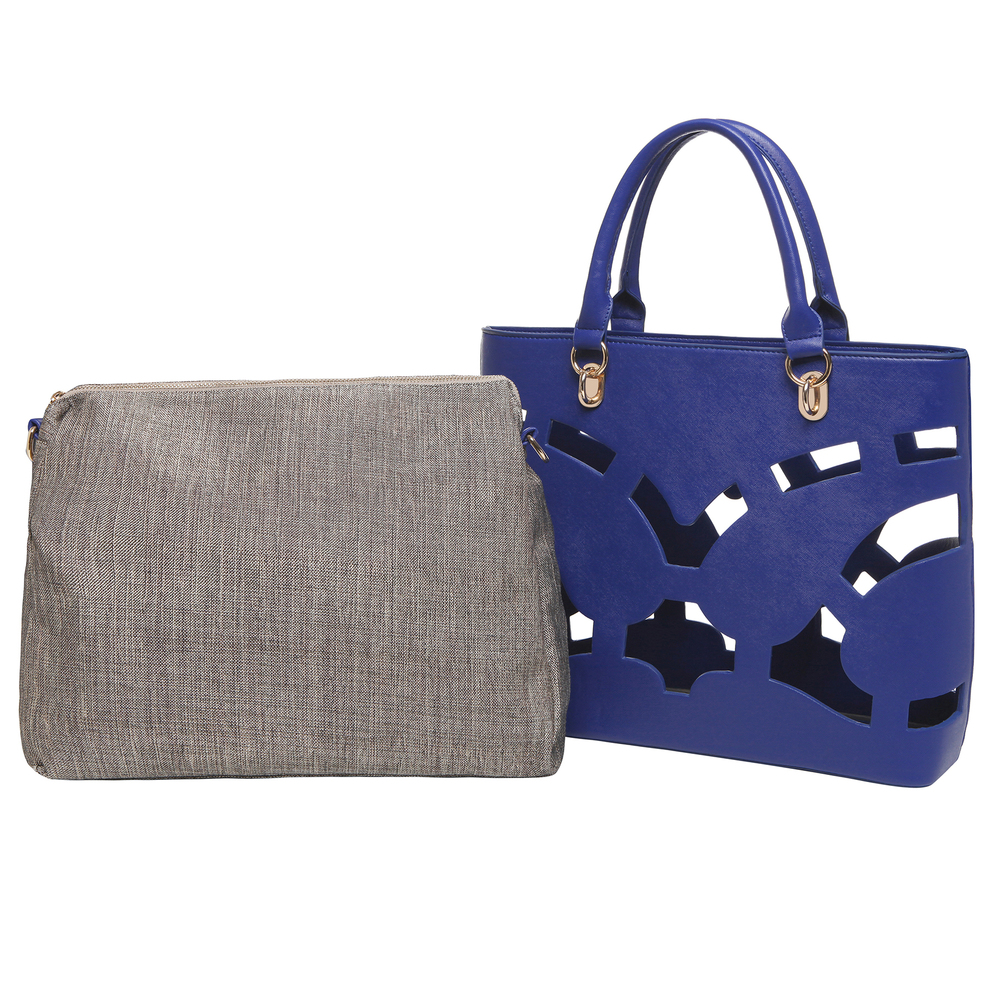 Tayla Blue 2 in 1 fashion cut out tote handbag both bags next to eachother