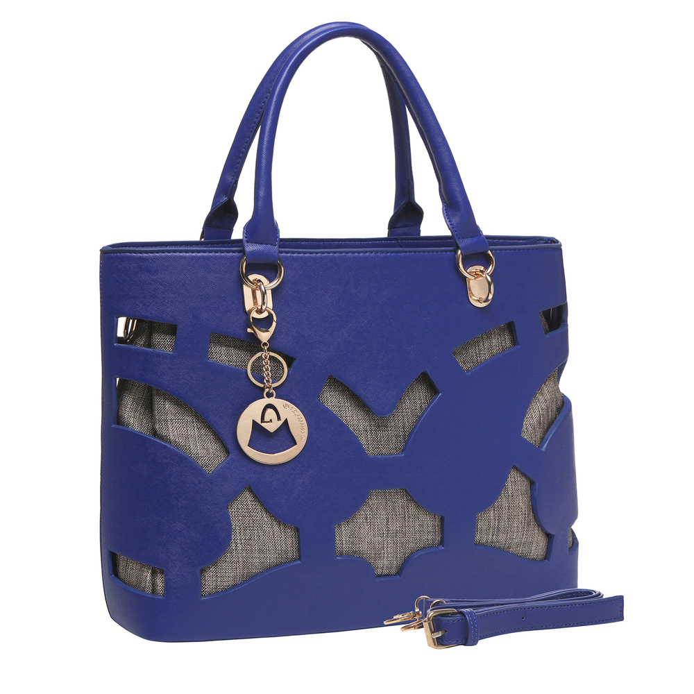 Tayla Blue 2 in 1 fashion cut out tote handbag main image