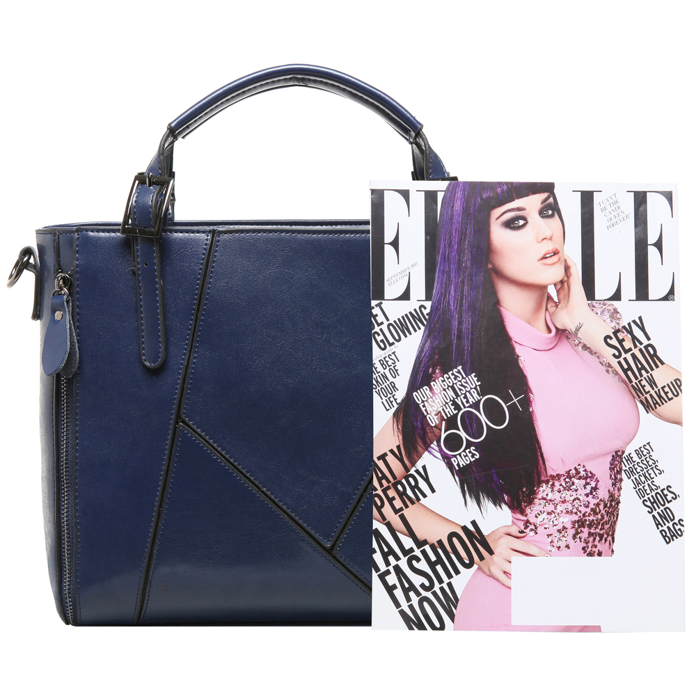 lourdes blue double top handle stitched crossbody tote size comparision image