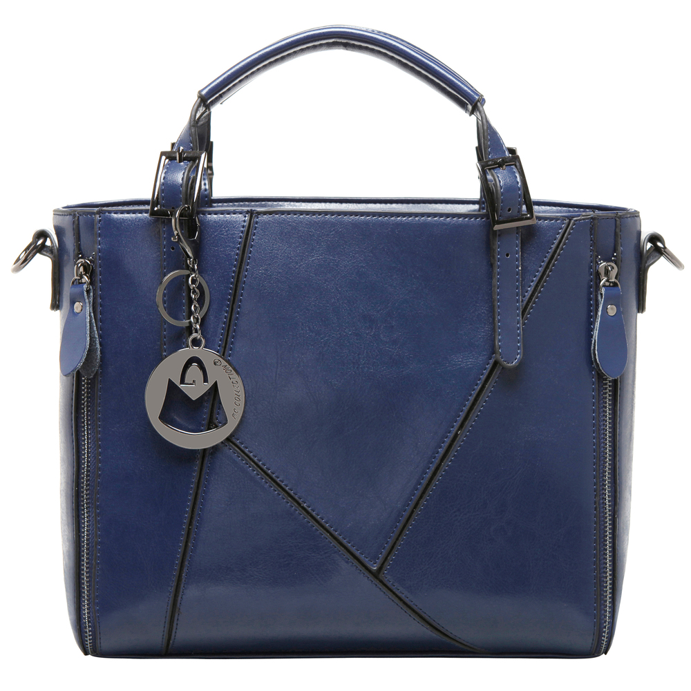 lourdes blue double top handle stitched crossbody tote front image