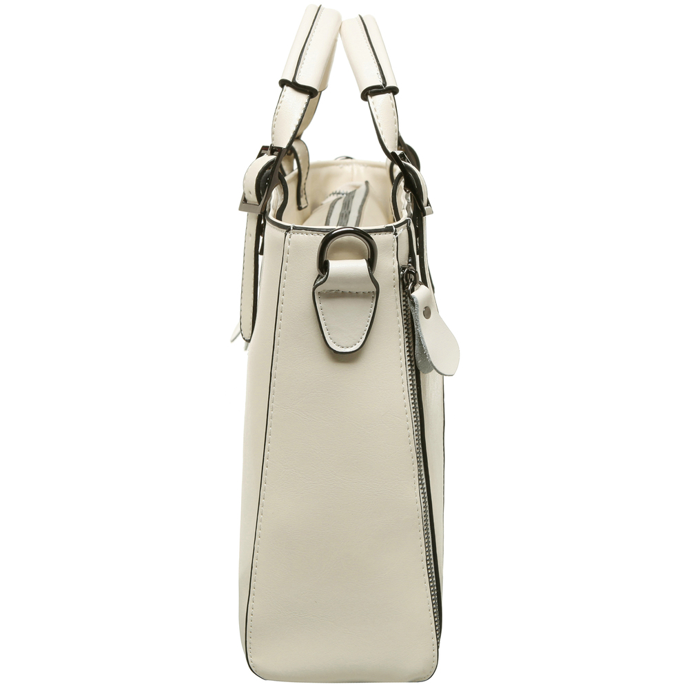 lourdes white double top handle crossbody tote side image