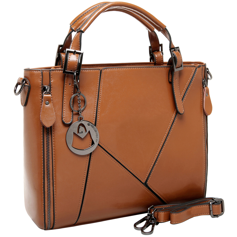 lourdes brown double top handle crossbody tote main image