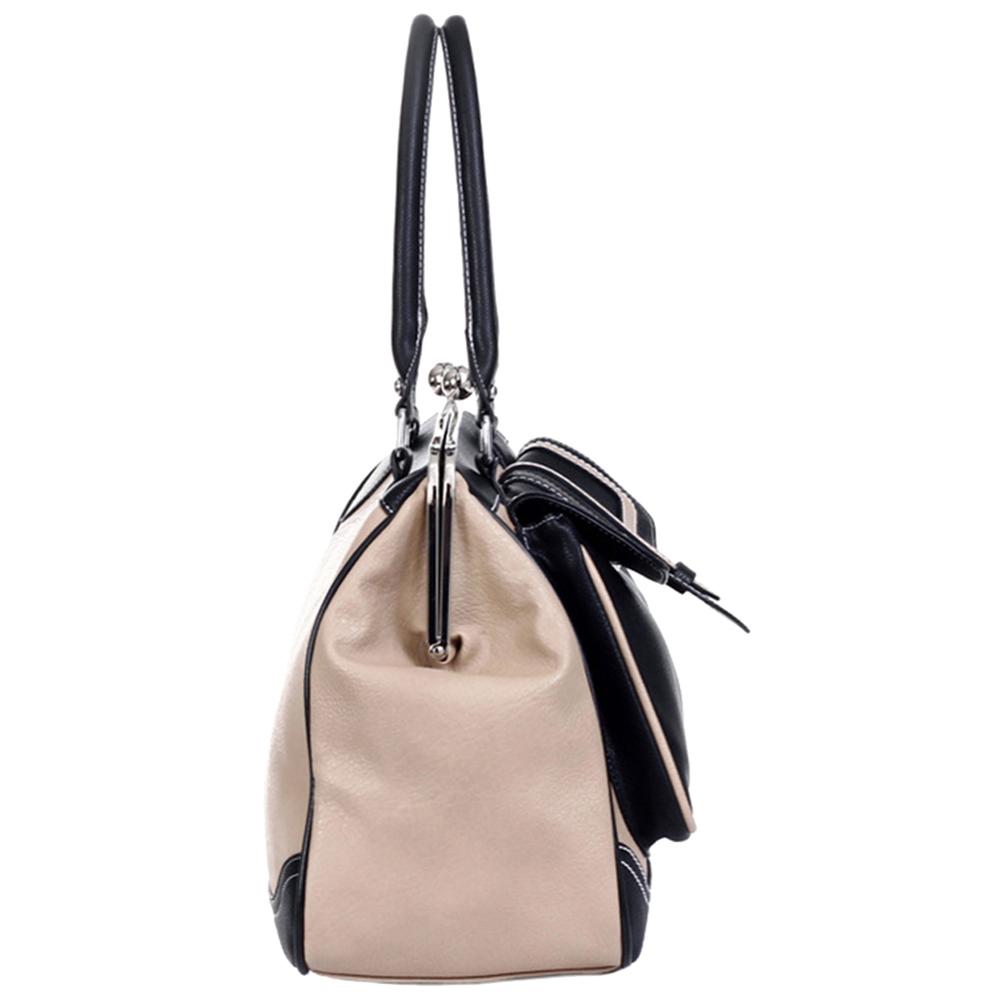 Aubrey black & beige vintage style clasp closure tote handbag side image