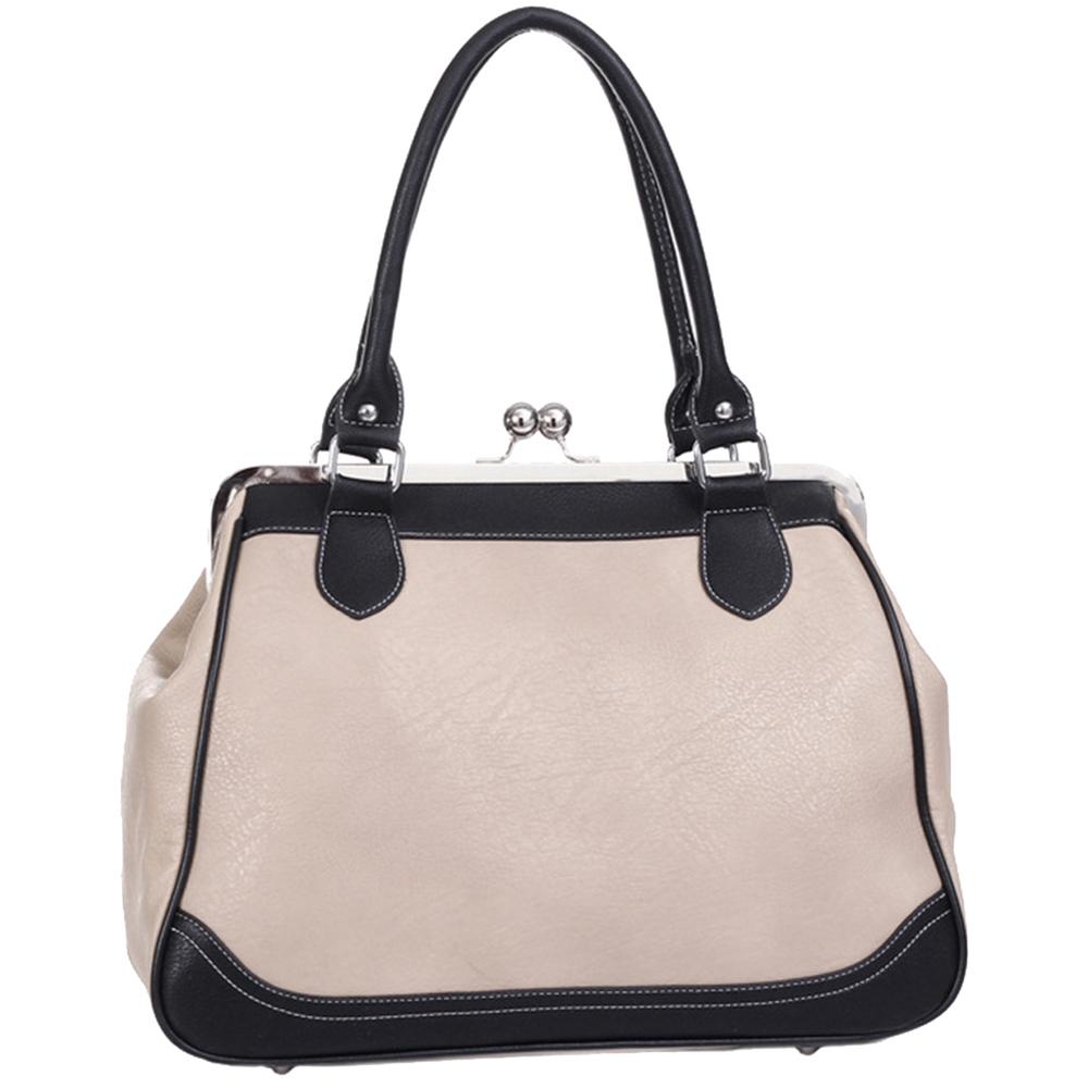 Aubrey black & beige vintage style clasp closure tote handbag back image