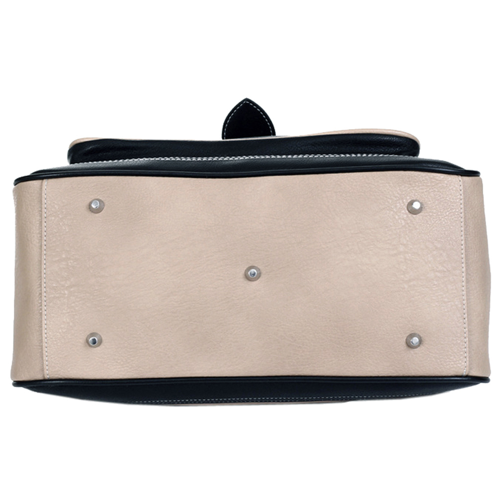 Aubrey black & beige vintage style clasp closure tote handbag bottom image