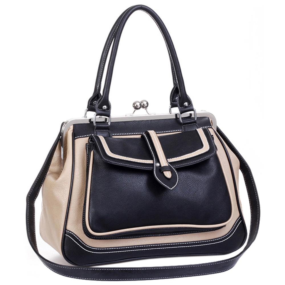 Aubrey black & beige vintage style clasp closure tote handbag main image
