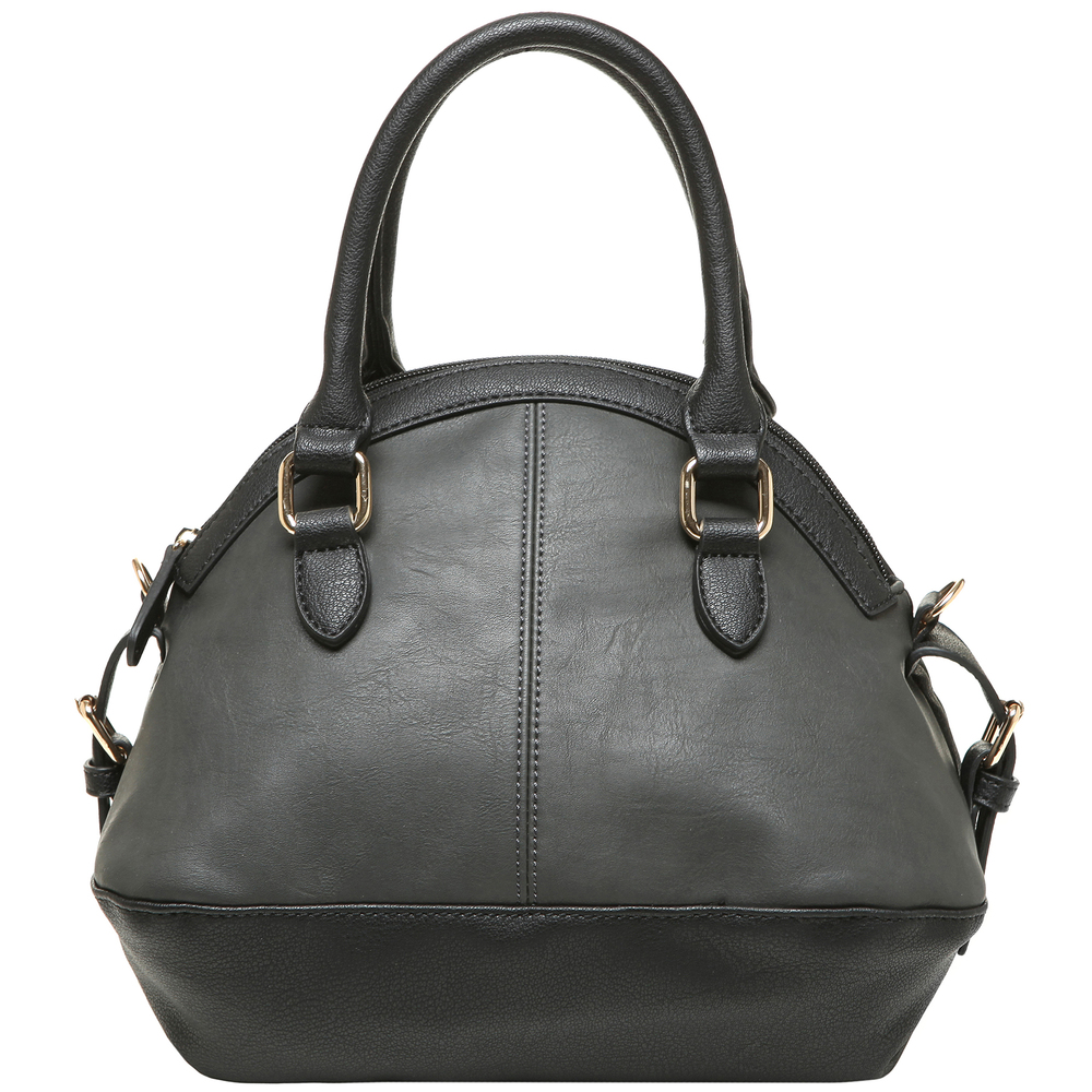 imani black bowler style small quilted tote purse back image