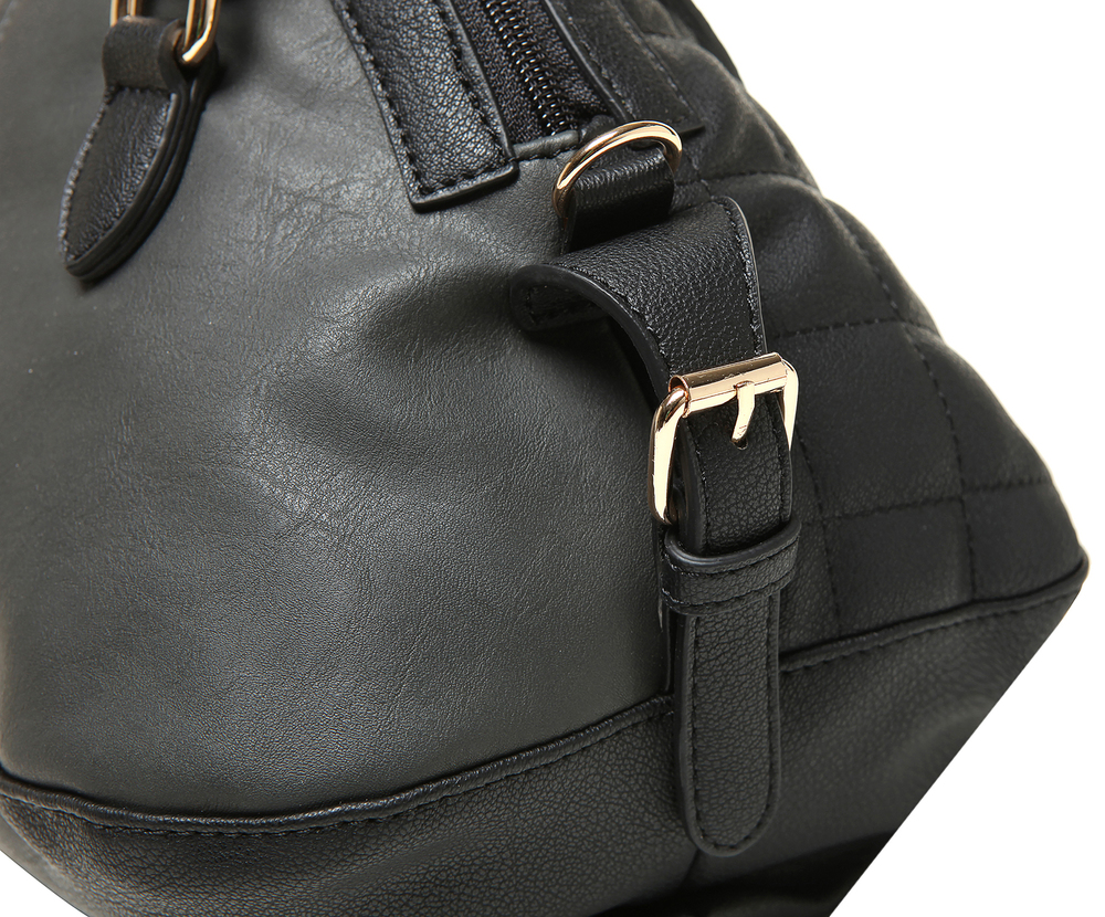 imani black bowler style small quilted tote purse closeup image