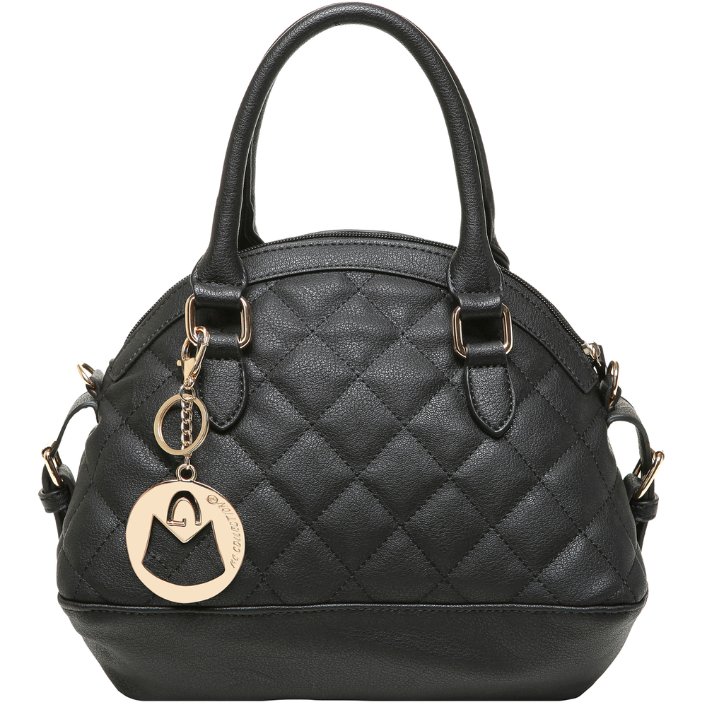 imani black bowler style small quilted tote purse main image