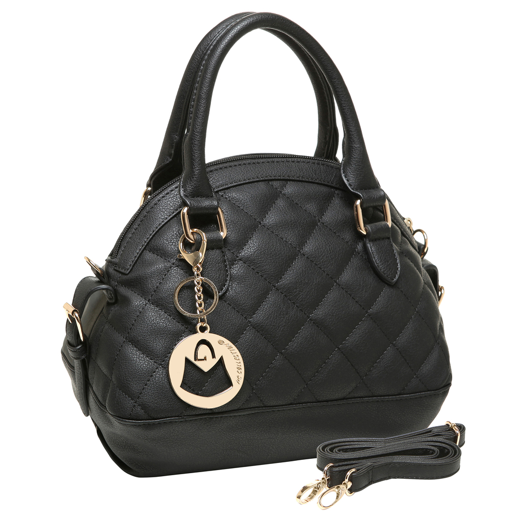 imani black bowler style small quilted tote purse angled image