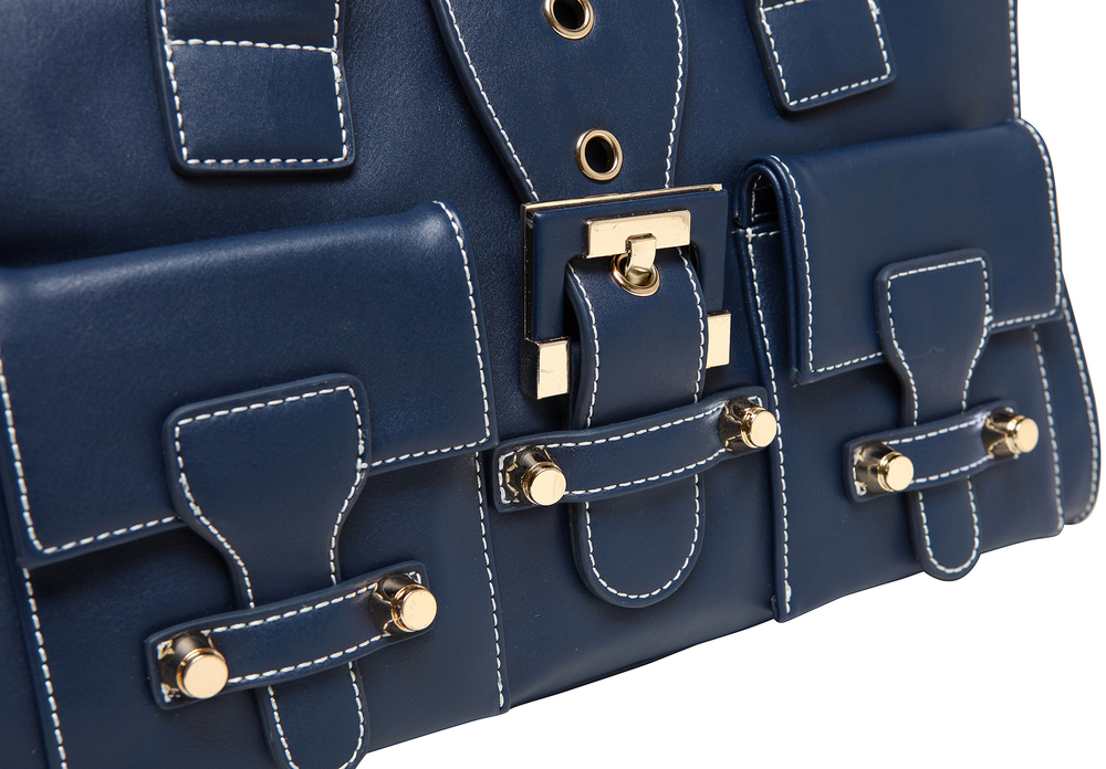 ANNA Oxford Blue Women's Designer Satchel Tote Handbag closeup image of buckles & gold hardware