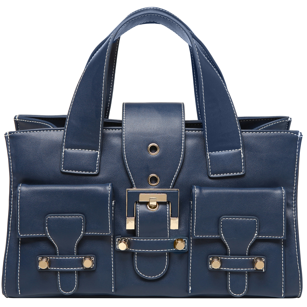 ANNA Oxford Blue Women's Designer Satchel Tote Handbag Front image