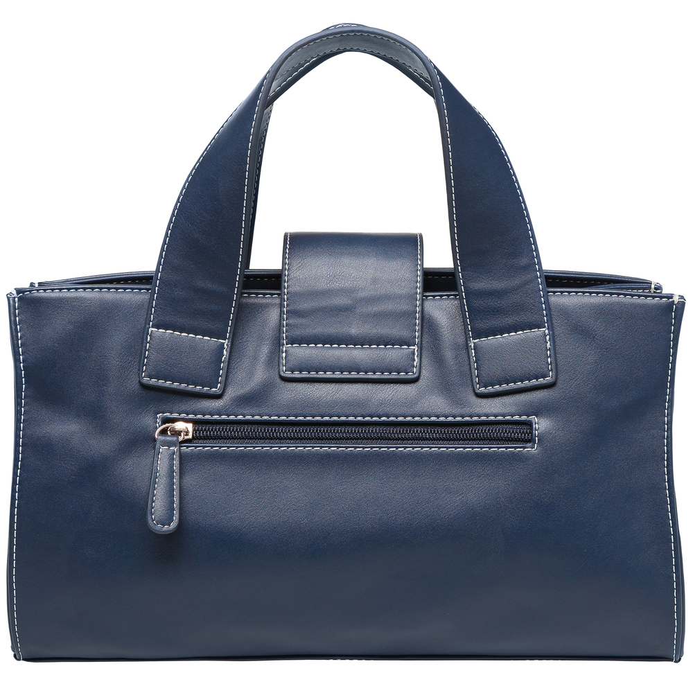 ANNA Oxford Blue Women's Designer Satchel Tote Handbag back image